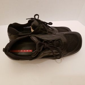 Prada Mens Size 10.5 Mesh Leather Lace Sneakers